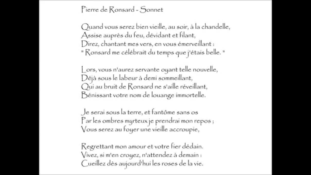 Ronsard Sonnet Quand Vous Serez Bien Vieille Audiothèque