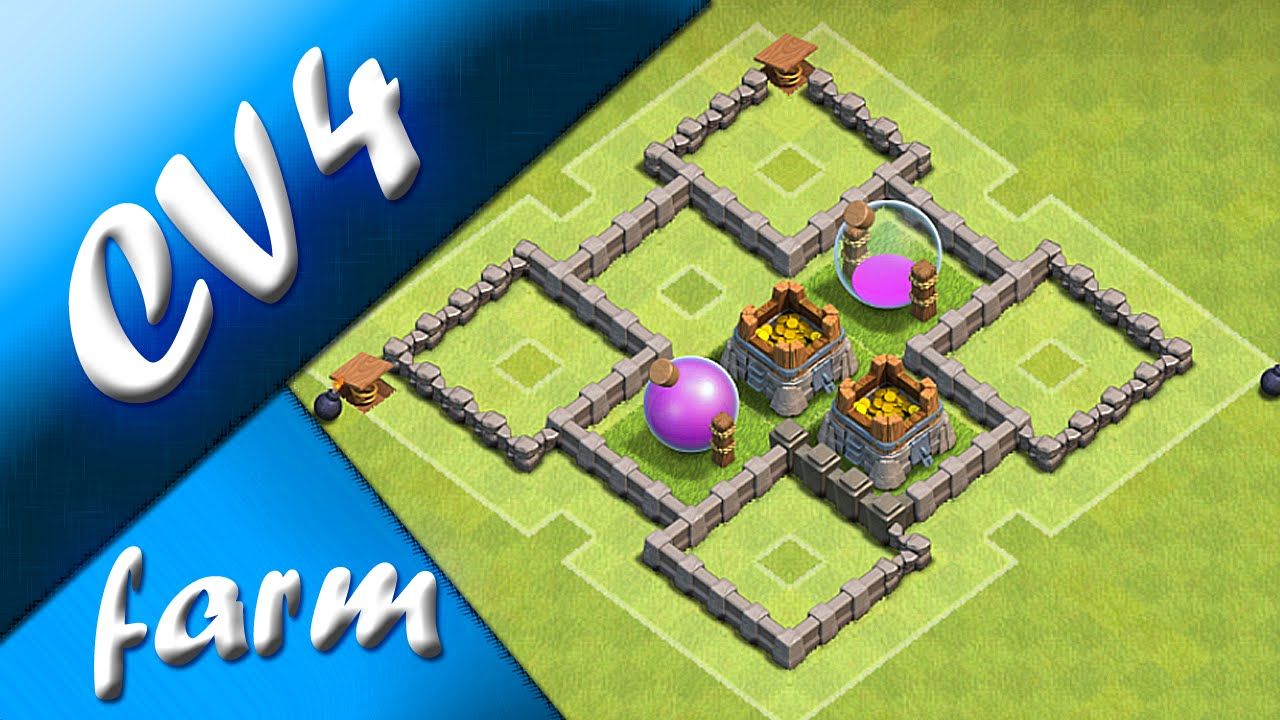 cv4 layout de farm th4 farming base clash of clans youtube - Layout Cv 4 Clash Of Clans