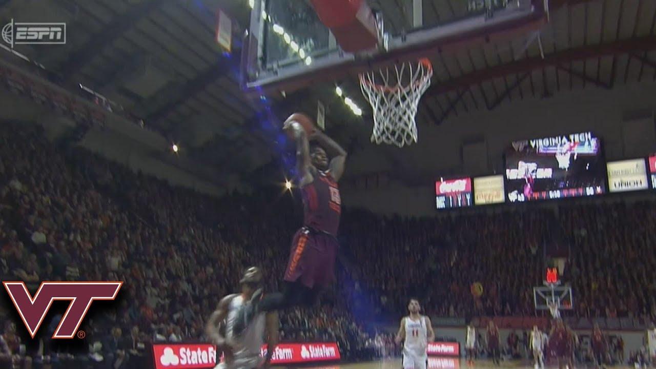 Virginia Tech's Ahmed Hill Flies Through The Air For the Dunk