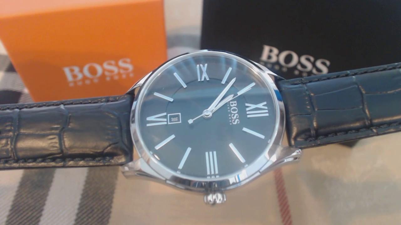 7319ce1ec8e9 Men s Black Hugo Boss Ambassador Leather Strap Watch 1513022 - YouTube