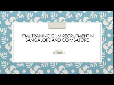 HTML Training cum Recruitment in Bangalore and Coimbatore-etcoe.in