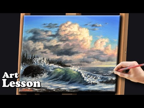 Acrylic Seascape Painting Techniques | Crashing waves and storm clouds