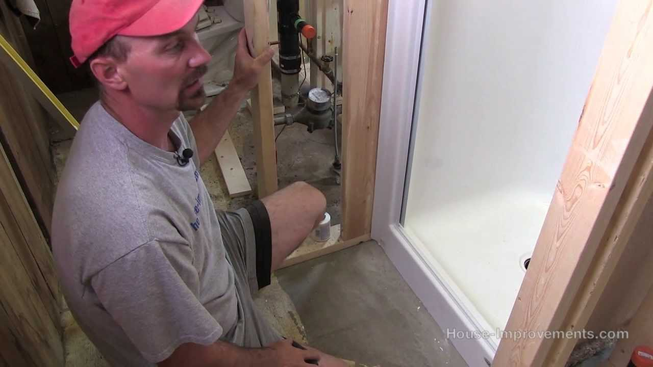 how to install a fiberglass shower youtube. Black Bedroom Furniture Sets. Home Design Ideas