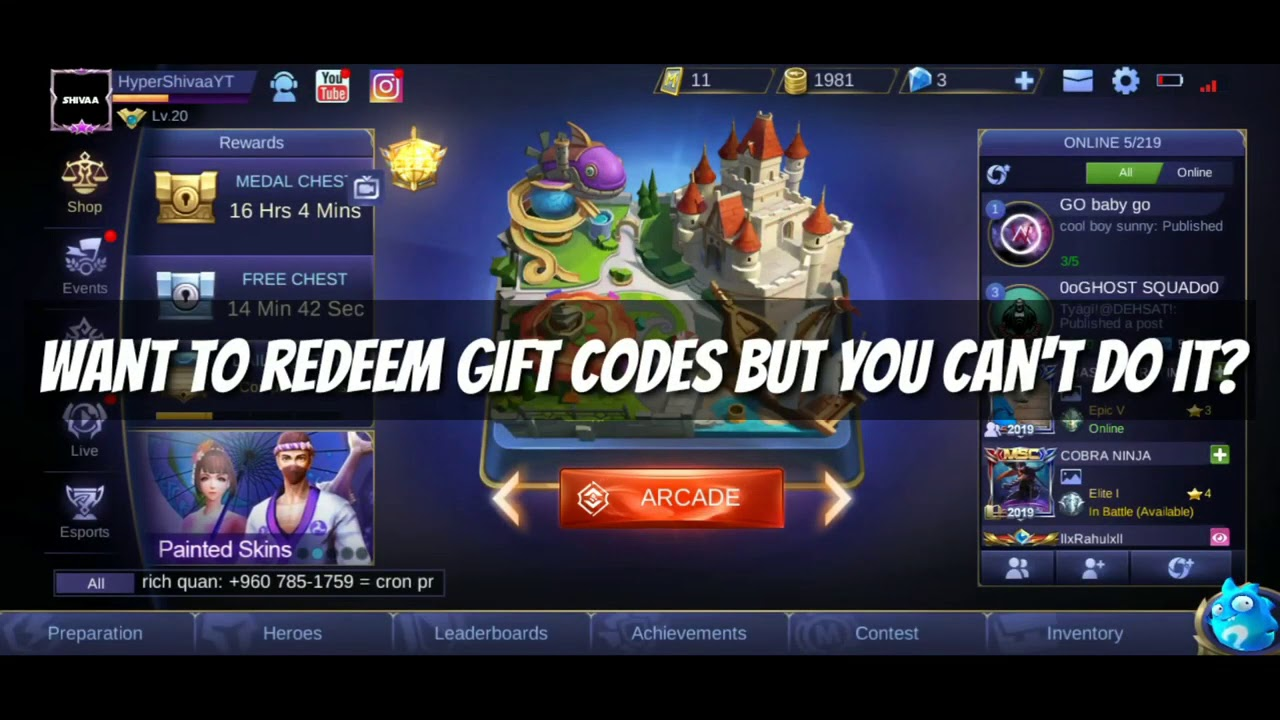 mobile legends bang bang. how to redeem gift code in 2019 mlbb get free hero fragments