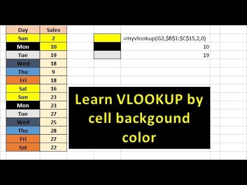 VLOOKUP by cell background color