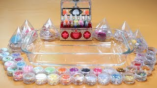 100 glitter challenges!  Mixing 100 beautiful glitter. Into Clear Slime! '100 glitterslime'.