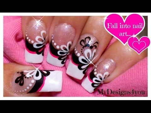 Floral Nail Art | Monochrome Flower French Using Dotting Tool!  ♥ Цветочный Дизайн Ногтей Дотсом