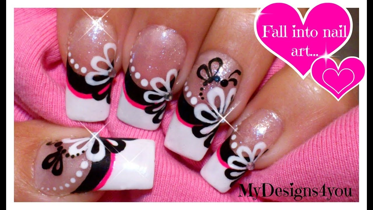 Floral nail art monochrome flower french using dotting tool floral nail art monochrome flower french using dotting tool youtube prinsesfo Gallery