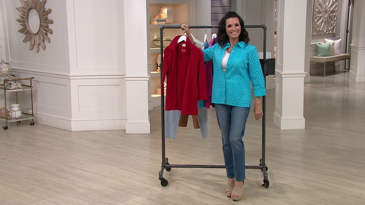 a2f8ea8cd7d Denim   Co. 3 4 Sleeve Button Down Eyelet Shirt with Tank on QVC ...