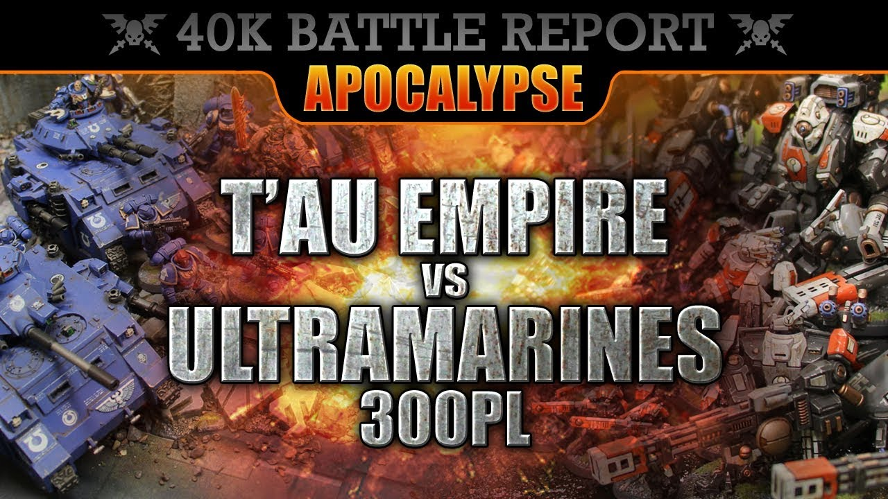 *NEW RULES* T'au Empire vs Space Marines Warhammer 40K APOCALYPSE Battle  Report HILL 65!