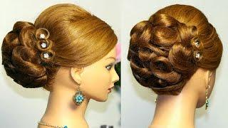 Вечерняя, свадебная прическа на длинные и средние волосы