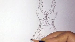 How to draw a dress step by step Part 1