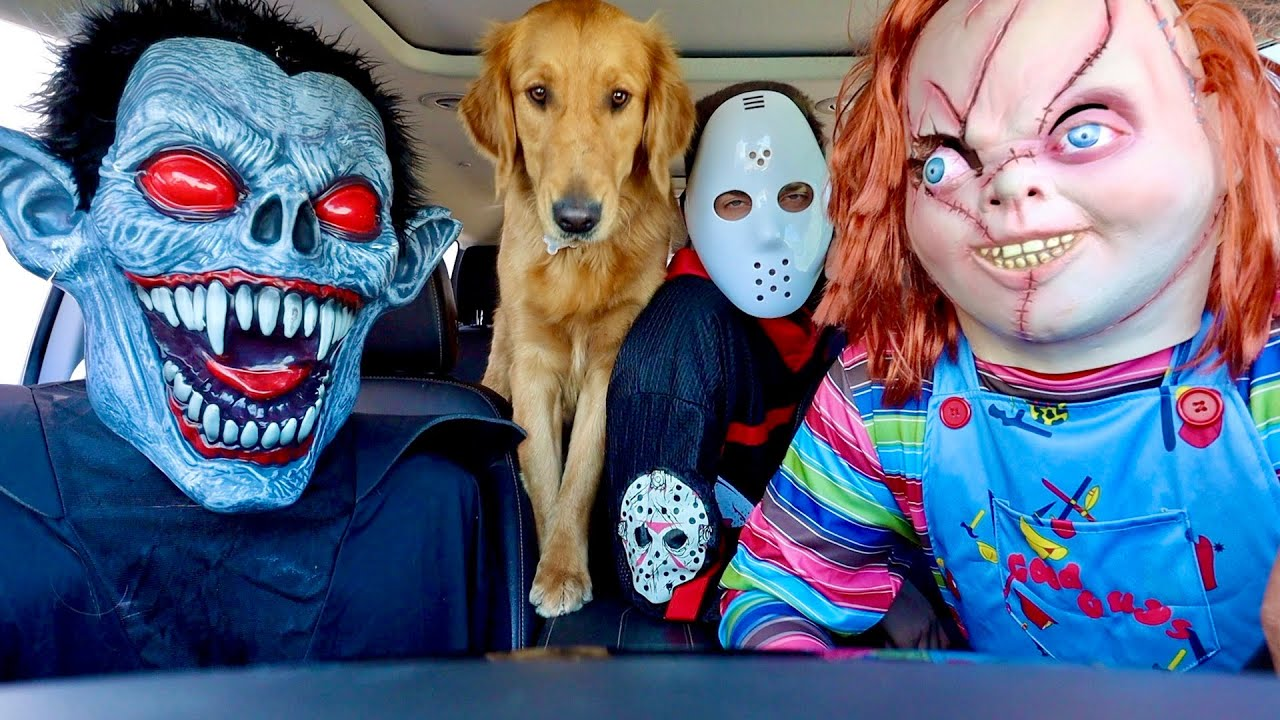 Chucky Surprises Vampire & Puppy with Dancing Car Ride!