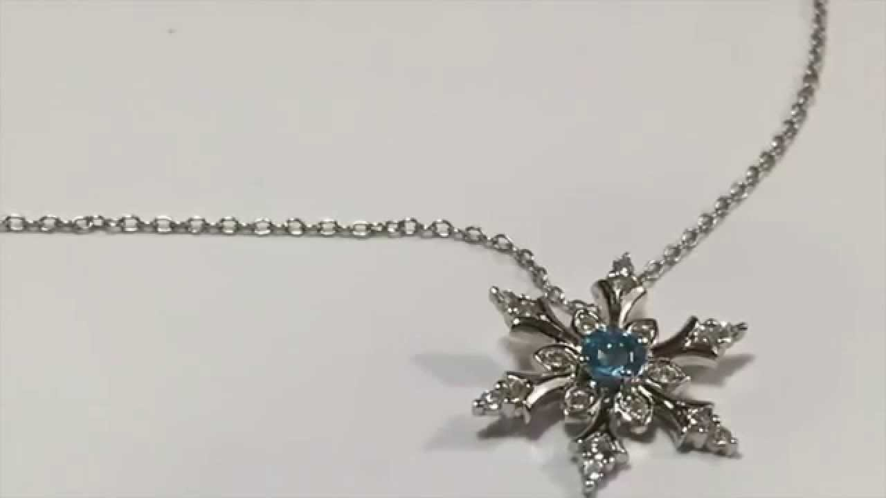 a73f99df308d7c Swiss Blue and White Topaz Snowflake Pendant Necklace, Sterling Silver -  YouTube