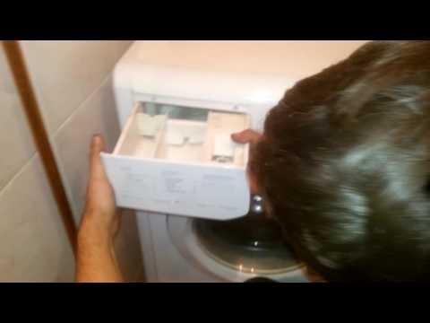 Как достать отсек для порошка из стиральной машины индезит