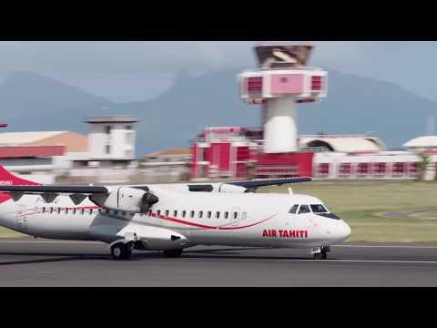 Air Tahiti ATR 72-600 (F-ORVU). Taking off from Tahiti (NTAA). 21/10/2017