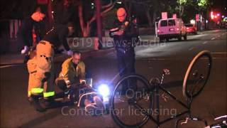 Man on bike gets hit by car in Downtown - 2/27/16