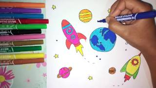 How to Draw and Coloring Earth, Rocket, Planets to Learning the Outer Space for Kids