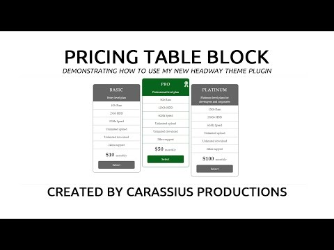 Pricing Table Preset Selector