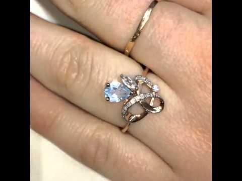 Перстень с аметистом и цирконами  Золото и серебро