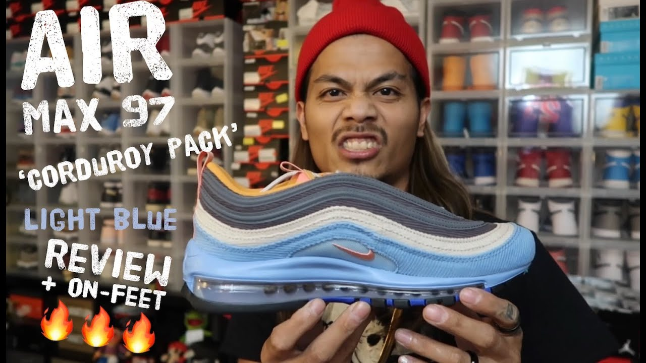 japan release nike air max 97 corduroy pack light blue review + on feet
