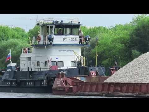 видео: Буксир РТ-338, баржа 7226 и собака.