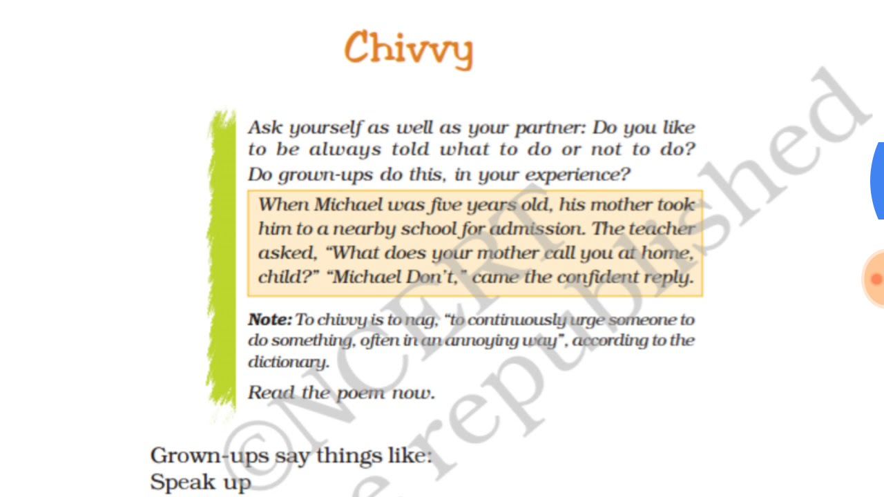 Chivvy Poem With Question Answers Full Explanation Class 7th English Ncert हद म