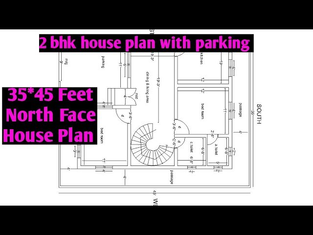 35x45 feet north facing house plan | 2 bhk north facing house plan with parking