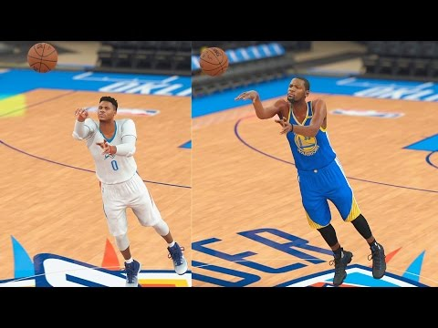 Thumbnail: Who Can Make a Half Court Shot First? Kevin Durant or Russell Westbrook? NBA 2K17 Gameplay