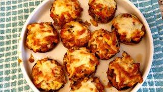 Ciuperci umplute cu piept de pui si legume/ Aperitiv pentru sarbatori