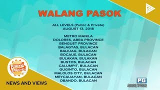 Mga lugar na #WalangPasok ngayong araw, August 13, 2018