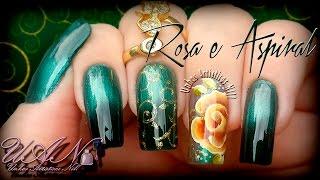 Nail Art One Stroke - Rosa e Aspiral - Unhas Artísticas Nill