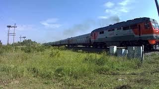Поезд 353 Пермь-Адлер между станциями Заинск - Альметьевская Август 2018 г.