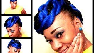 Royal Blue & Black twisted mohawk hair tutorial