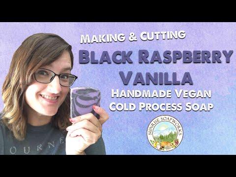 Making & Cutting Handmade Black Raspberry Vanilla Vegan Cold Process Soap | Sunrise Soapworks|