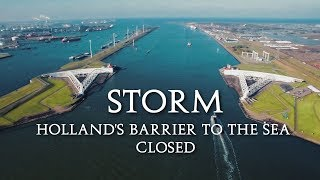 STORM !  Hollands Barrier to the Sea closed (The Maeslantkering) 4k