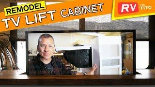 RV REMODEL - Custom TV Lift Cabinet, Bar, Desk, Shoe Rack in One