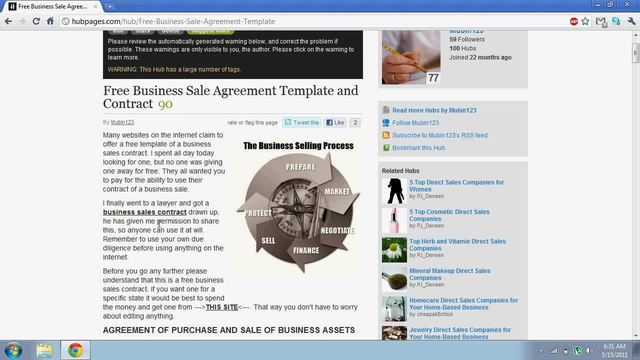 Free Business Sales Agreement Template YouTube – Business Sale Contract Template Free