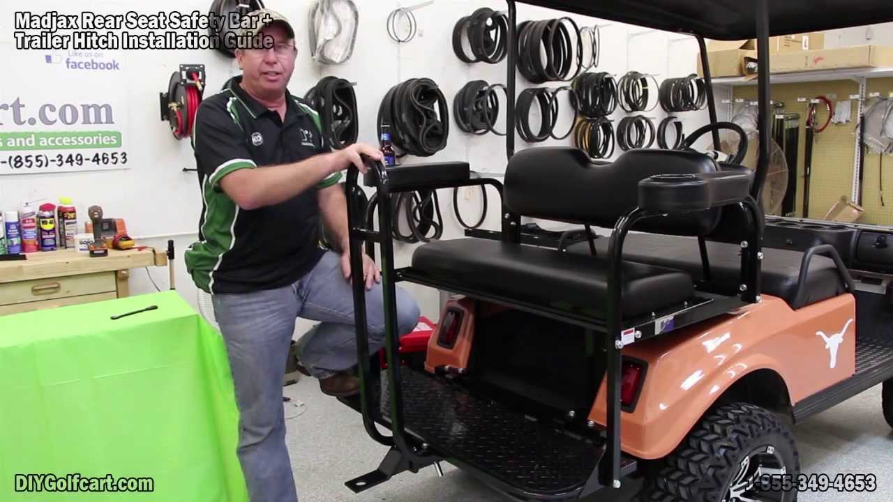 Trailer Hitch and Safety Grab Bar for Golf Cart Rear Seat | How to Install - YouTube
