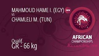 Qual. GR - 66 kg: I. MAHMOUD HAME (EGY) df. M. CHAMLELI (TUN) by TF, 10-0
