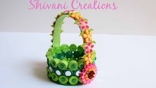 Paper Quilling Basket/ Green Paper Strip Basket/ DIY Flower Basket