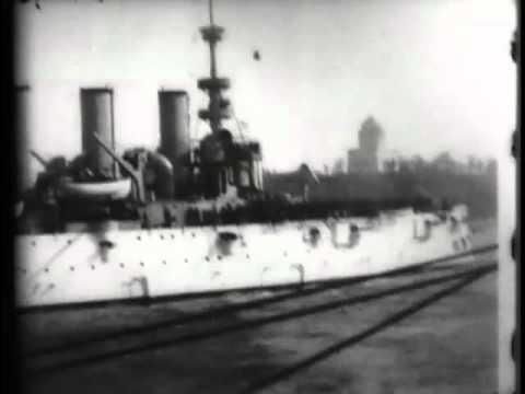 "U.S. cruiser ""Olympia"" leading naval parade"