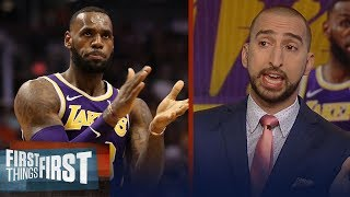 Nick Wright reacts to LeBron, Lakers 1st season win, Curry's MVP chances | NBA | FIRST THINGS FIRST