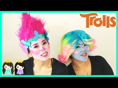 Halloween Costume Makeup Tutorial DIY Trolls Poppy  Makeover Dress Up for Kids Princess ToysReview