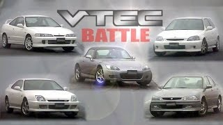 [ENG CC] Honda VTEC Battle - Integra R, Civic R, S2000, Prelude S, Torneo at Ebisu 1999