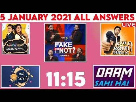 Flipkart FAKE OR NOT Answers today LIVE   5 JANUARY   Kya Bolti Public Answer  Prize Wali Paathshala
