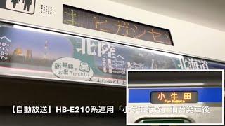 【自動放送】HB-E210系「小牛田行き」仙台発車後 東北本線運用