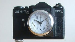 Zegar jak aparat fotograficzny Zenit ET retro vintage loft plus statyw