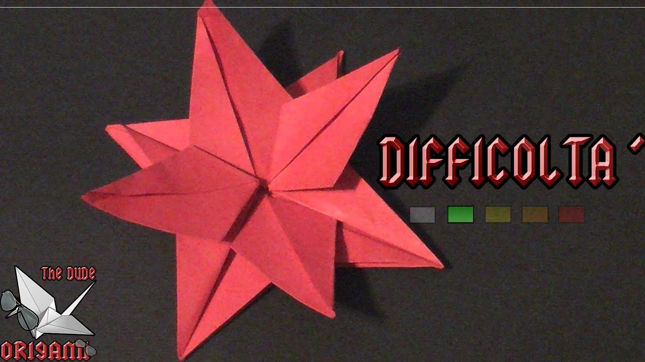 Stella Di Natale A 5 Punte.Origami Ita Fiore Stella Di Natale Origami Di Natale Youtube