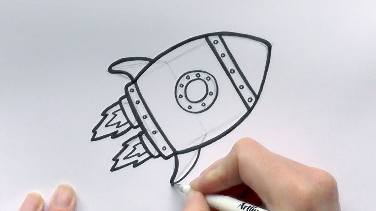 How to Draw a Cartoon Rocketship - YouTube